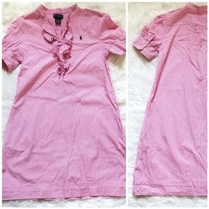Ralph Lauren pink Striped Dress 16 Girls